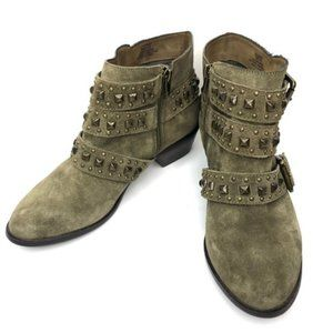 Sole Society Harley Olive Green Stud Buckle Boots